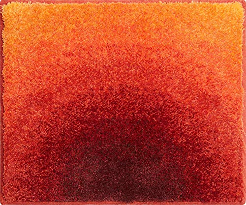 Grund Badteppich 100% Polyacryl, ultra soft, rutschfest, ÖKO-TEX-zertifiziert, 5 Jahre Garantie, SUNSHINE, WC-Vorlage o.A. 50x60 cm, orange
