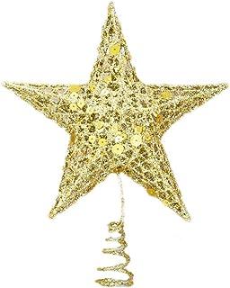 BESTOYARD Christmas Star Tree Topper Golden Glitter Metal Hallow Tree Star Xmas Holiday Party Decoration (20cm)