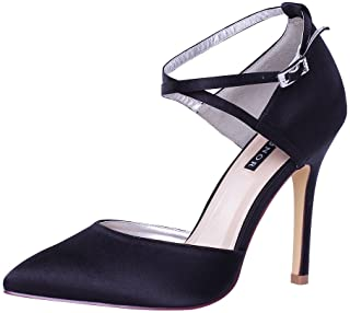 ERIJUNOR Women High Heel Ankle Strap Satin Dress Pumps...