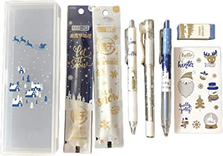 Wodwad 1 Set Kawaii Festival Gel Pens, Pencil,Eraser,Stickers, Refill Black Ink School Office Supply