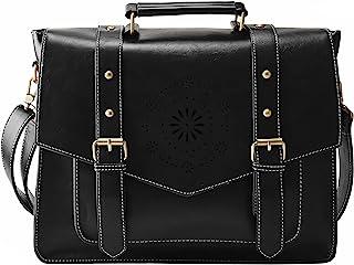 """ECOSUSI Umhängetasche Damen Vintage Laptoptasche 14.7"""" Schultertaschen Arbeitstasche Handtasche Schwarz"""