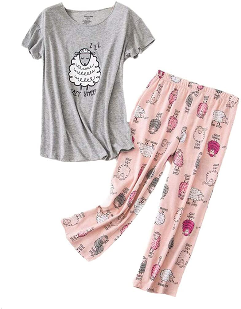 Inadays Sleepwear Womens Short Sleeve Pajama Set Printed Pajama for Women Capri Set Nightwear…