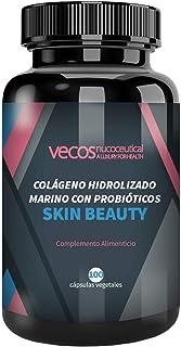 Vecos Skin Beauty - Elasticidad. luminosidad e hidratación para la piel – Colágeno hidrolizado marino con elastina y probióticos específicos para la salud