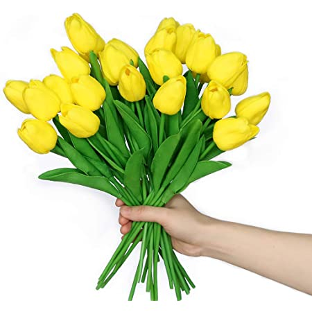 anaoo 24pcs Flores de Tulipanes Artificiales de Látex, Floras Falsas Pero de Tacto Real Decoración para Banquete de Boda, Hogar, Fiestas, Jardín, Partido del Hotel, Amarillo
