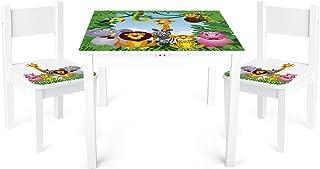 Leomark Mesa y sillas de Madera para niños, 1 Mesa y 2 Silas, Mesas y sillas Infantiles de Madera, Juego de Muebles Infantiles, para Cuarto de los niños, Motivo: Animales Salvajes, Altura: 49 cm