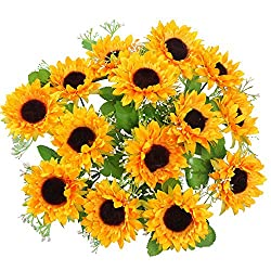 professional AmyHomie Artificial Flower, Silk Sunflower, 2 Bunch / Pack Artificial Sunflower