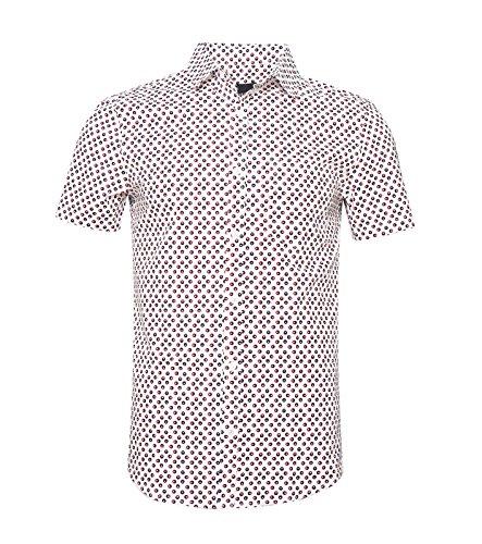 SOOPO Camiseta clásica Estampada de Hombre con Lunares en Manga Corta para Hombre, Manga Corta, Negros, XL