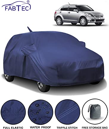 Fabtec Waterproof Car Body Cover for Maruti Swift Dzire (2012-2016) with Mirror & Antenna Pocket & Storage Bag (Full Sized, Triple Stitched, Fully Elastic)