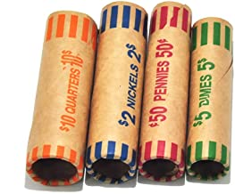 L LIKED 128 Assorted Coin Preformed Wrappers Rolls – Quarters, Pennies, Nickels and..