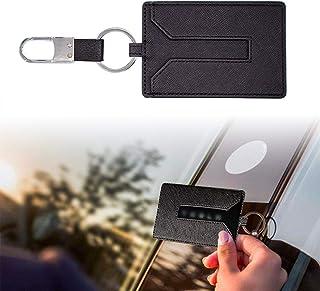 KE-KE Card Holder for Tesla Model 3 Leather Protector Cover Key Card Keychain Metal Accessories (Black)