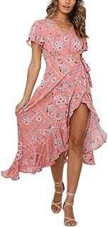 فستان صيفي للنساء فستان مثير بدون أكمام بطباعة الزهور فستان برقبة على شكل حرف V مكشكش بوهو فستان يومي للشاطئ طويل