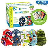 Optho-Patch Kids Eye Patches - Fun Boys Design - 30 + 10 Bonus Latex Free Hypoallergenic Cotton Adhesive Bandages for...