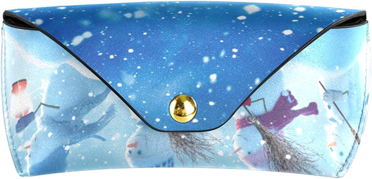 Multiuse PU Leather Portable Office Sunglasses Case Eyeglasses Pouch Goggles Bag Christmas Winter Snowman