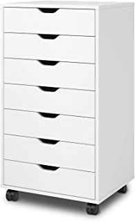 DEVAISE 7-Drawer Chest, Wood Storage Dresser Cabinet with Wheels, White