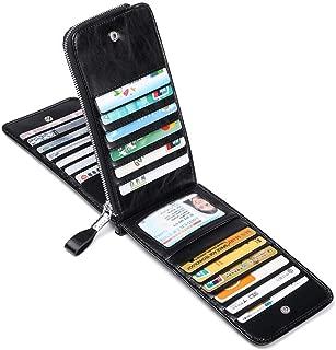 JEEBURYEE Women's Genuine Leather Credit Card Holder RFID Long Zipper Purse Wallet
