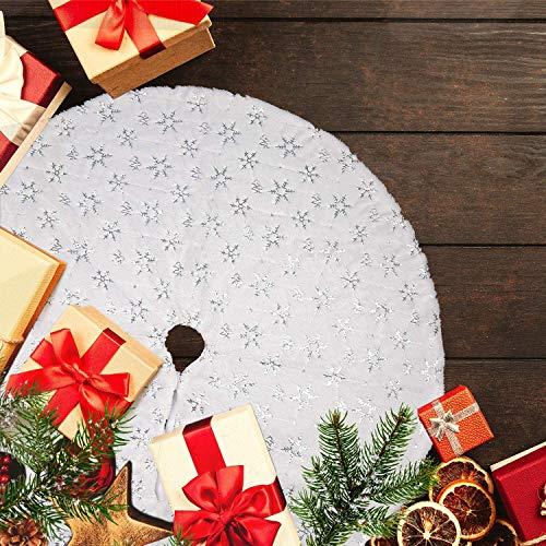 LATH.PIN Gonne per Alberi di Natale Festa Natale Partito Casa Vacanza Decorazione Natalea Tappeto Copertura Natale in Rosso Verde Bianco (Bianco-Argento, M-90cm)