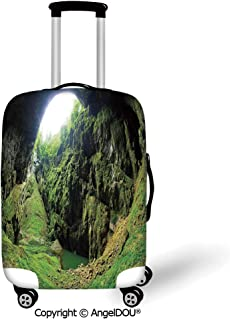 AngelDOU Durable Elastic Suitcase Luggage Protective Cover Natural Cave Decorations Punkevni Cave in Czech Republic European Geological Formation Myst Hole Landscape Green Trolley Dust Rain Bags Acces