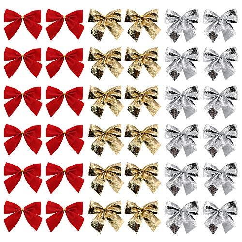 Lifreer 36 Mini-Schleifen, 5 cm, Weihnachtsschleifen für Weihnachtsbaum, Dekoration, Geschenke, Geschenkverpackungen, Bastelzubehör (rot, gold, silber)