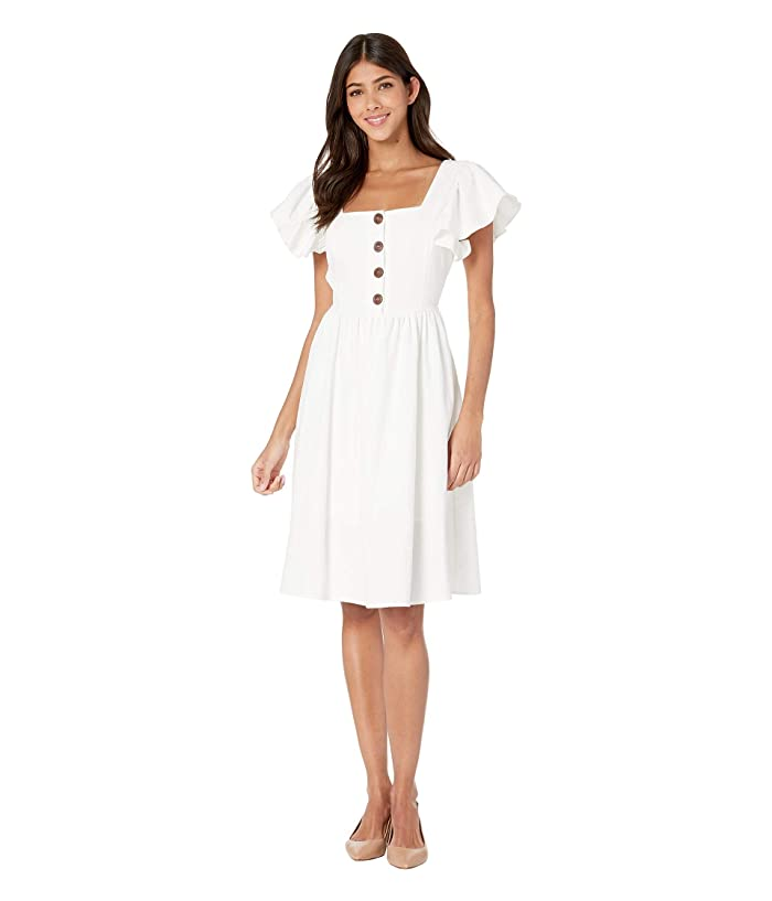 American Rose Brooklyn Button Up Ruffle Sleeve Dress (Off-White) Women