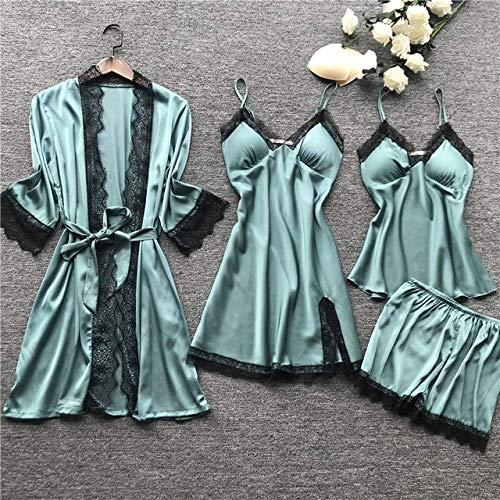DERUKK-TY Pijama de verano para mujer, talla grande, 2XL, 2020, pijama de satén, 4 piezas, pijama con correas para dormir, pijama, color rojo vino, XXL