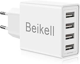 Beikell Chargeur USB, Chargeur Secteur USB 4 Ports Adaptateur Secteur Universel Chargeur Mural 5A / 25W avec Technologie de Chargement Rapide Adaptative pour iPhone,Huawei,Appareils Portables,etc