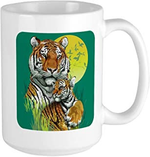 Large Mug Coffee Drink Cup Tiger Family Cub Stripes in Jungle