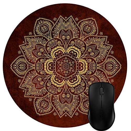 Wknoon Round Mouse Pad Customized Design, Abstract Gold Flower Mandala On Rusty Red Background Art