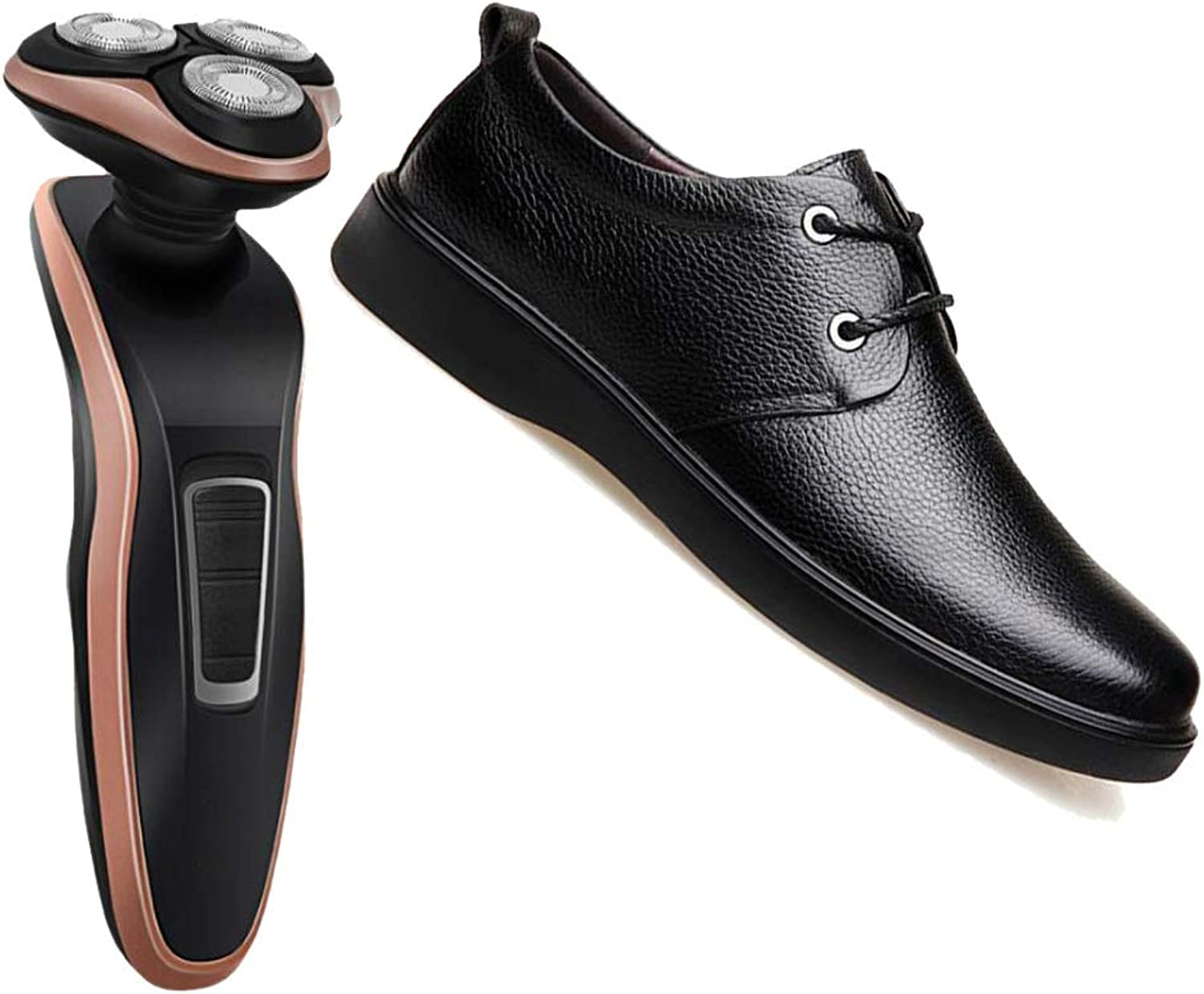 Derby Four Seasons Men's Business shoes Round Head Soft Leather Breathable Brown Black Party