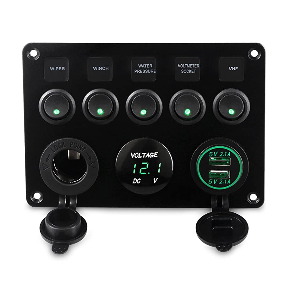 WATERWICH 5 Gang ON-OFF Marine Ignition Toggle Rocker Switch Panel Waterproof with Digital Voltmeter 4.2A Dual USB Charger Cigarette Lighter Socket For RV Car Boat Vehicles Truck Trailer Yacht (Green)