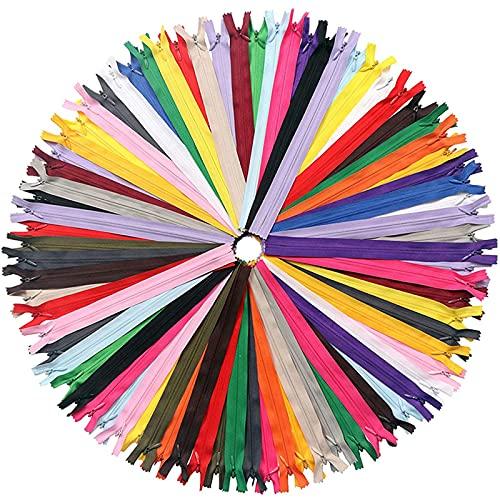 100 Piezas Cremalleras de Colores 30cm Cremalleras de Invisible Cremalleras de Nylon de Bobina para Costurar Almohadas, Ropa, Falda, Pantalones,Sastre Artesanias de Costura(10 Colores)