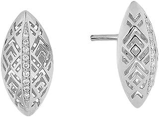 Al Zain Jewellery 18K Al Merriyah M/5 Earrings in White Gold with Diamonds - E3308