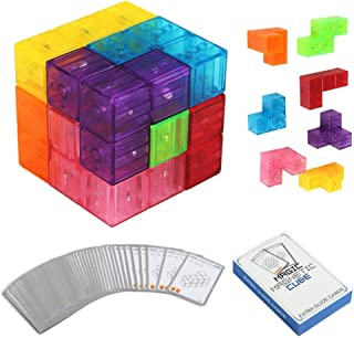 AM ANNA Magnetic Buliding Blocks Magic Magnetic Cube -7pcs Magnetic Bricks and 54 Smart Cards Braind Toy/Brainteaser Puzzl...
