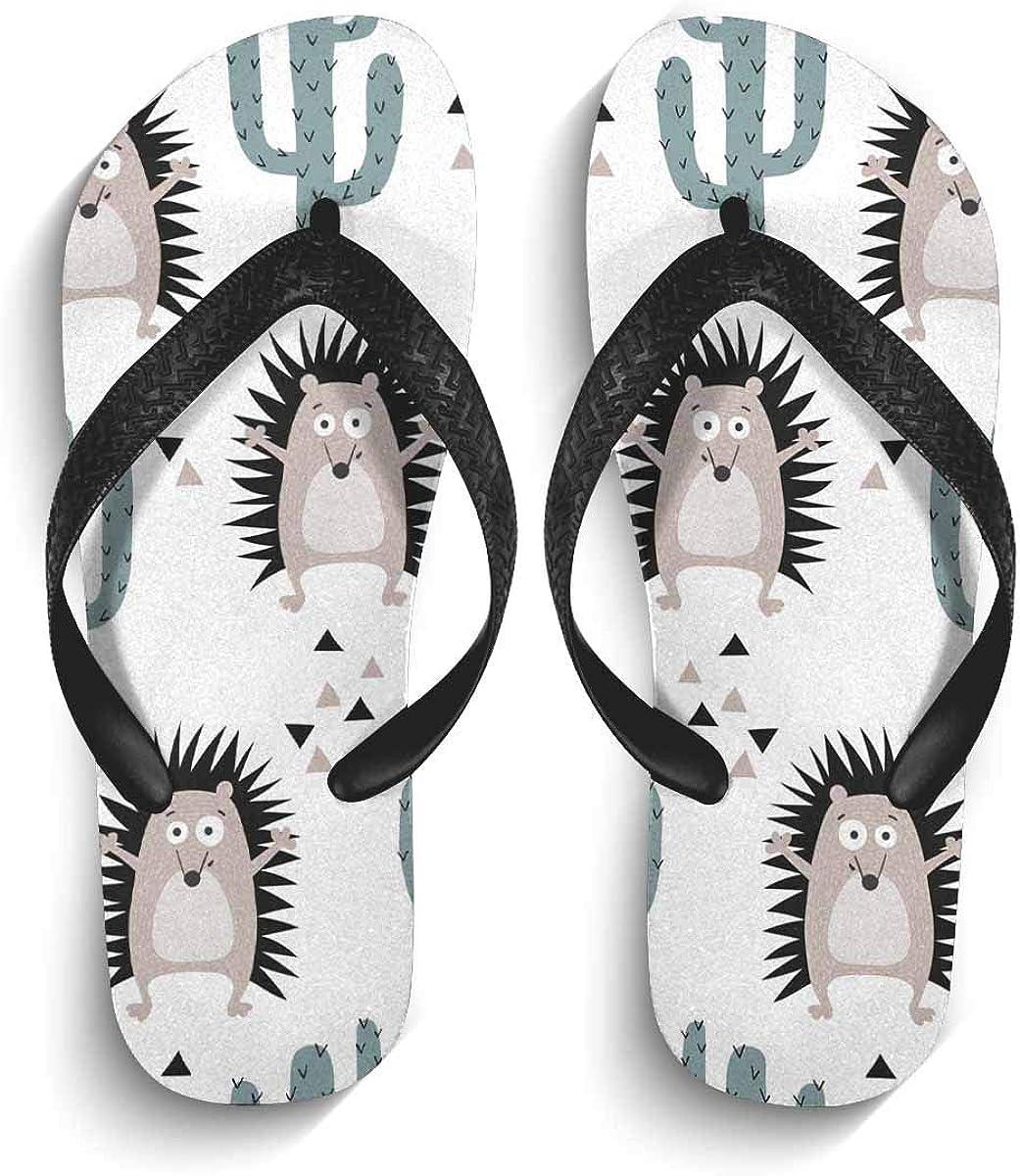 InterestPrint Men's Flip Flop Sandals Cute Hedgehog and Cactus Summer Beach Thong Sandal Outdoor Footwear XL