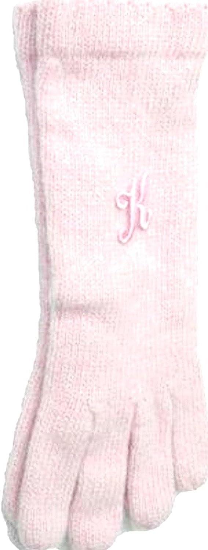 Pink Color Angora Gloves Trimmed with Customer Chosen Pink Monogram Letter