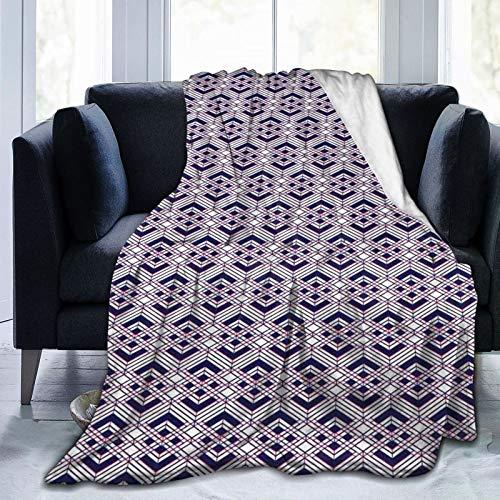 Manta mullida, arreglo geométrico de líneas diagonales rombos ilusión óptica, ultra suave, manta para dormitorio, cama, TV, manta para cama de 152 x 127 cm