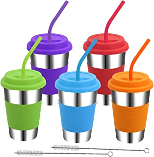 Rommeka Kids Cups with Lids and Straws, 5 Pack Stainless Steel Pint Tumblers Eco-Friendly Reusable Drinking Glasses for Ad...