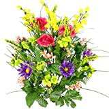 Artificial Dahlia, Morning Glory and Ranunculus and Blossom Fillers Mixed Bush - 30 Stems for Home, Wedding, Restaurant and Office Decoration Arrangement, Fresh Mix