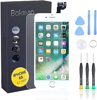 Bokman LCD Pantalla para iPhone 6s Reemplazo de Pantalla LCD con Botón de Inicio, Cámara Frontal, Sensor Flex, Altavoz Auricular y Herramientas de Reparación(Blanco)