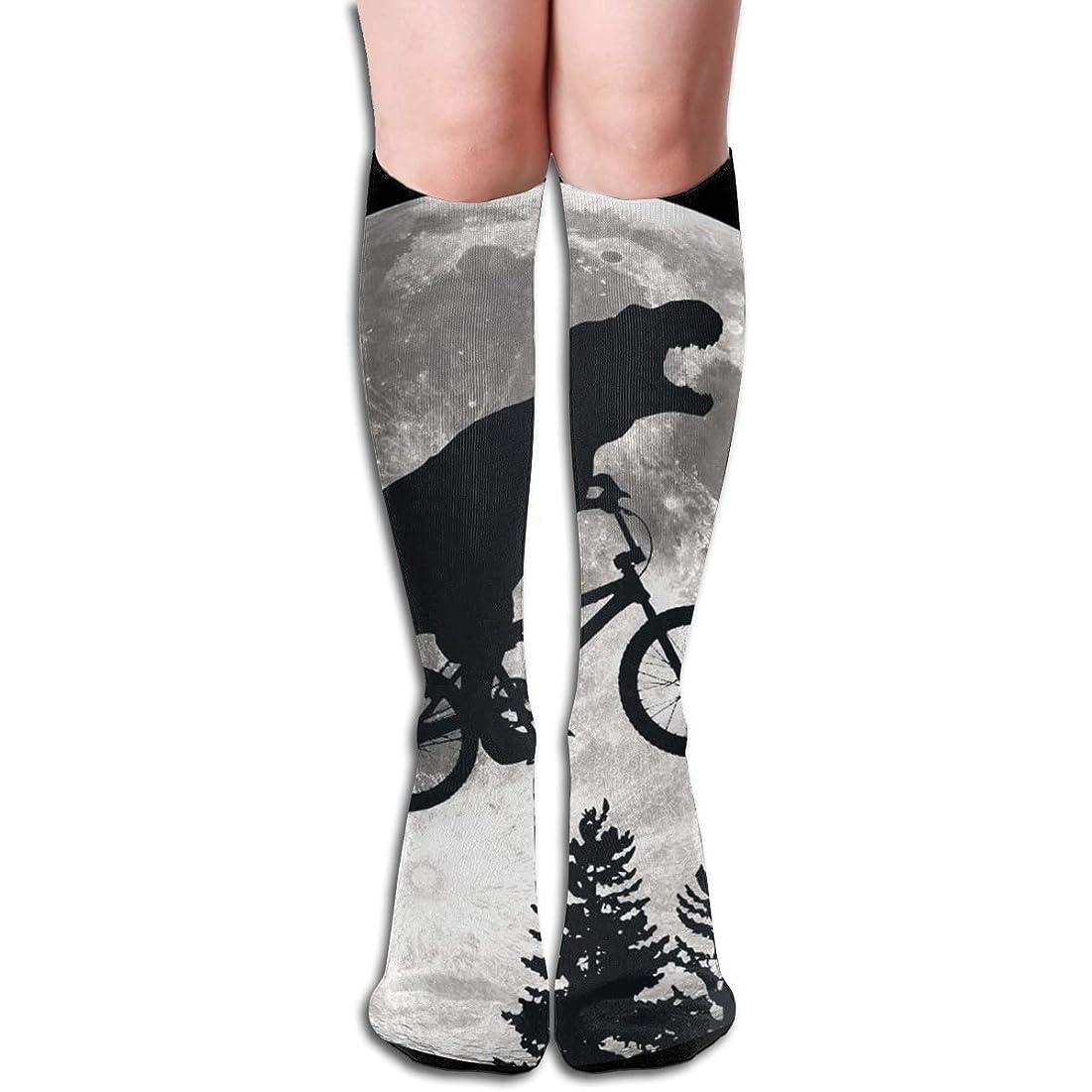 刺激するそれらインシデントqrriy女性の恐竜自転車と月ソフトクリスマス膝高ストッキング靴下、クリスマス楽しいカラフルなドレスソックス