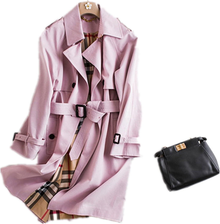 Bobbycool Ladies Pink Long Windbreaker Jacket Autumn