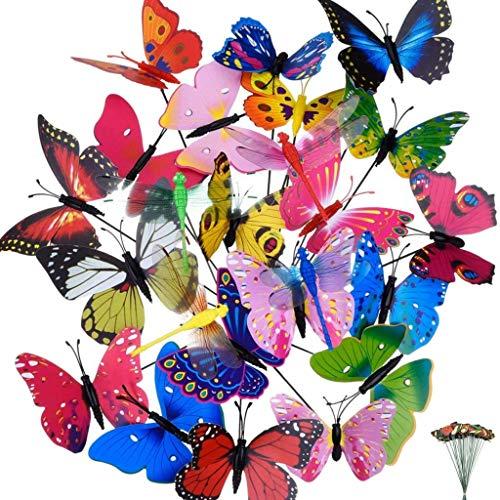 byou Farfalle Decorative Giardino,Farfalle da Giardino Stake 24 Pezzi e 4 Pezzi Libellule da Giardino Stake Ornamenti per Decorazione della Pianta Giardino Esterno Festa Decorazione 30 * 12cm