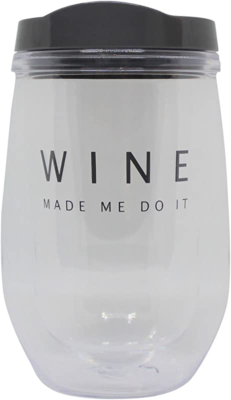 Insulated Stemless Wine Tumbler With Lid 10 Oz Spill Proof Adult Sippy Cup Grey WINE MADE ME DO IT