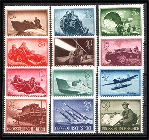 12 DIFFERENT RARE ORIGINAL WW2 NAZI WEHRMACHT STAMPS w DRAMATIC BATTLE SCENES (GROSSDEUTSCHES REICH) FLAWLESS MNH!