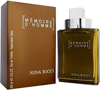 Memoire D'homme By Nina Ricci For Men. Eau De Toilette Spray 3.3 Ounces