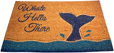 Whale Hello There Summer Themed Outside Coir Front Door Mat, 33 Inches