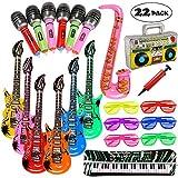 Lewo 22 Pack Guitarra Inflable 6 Guitarras Inflables, 6 Micrófonos, 6 Gafas de Sombra del Obturador, 1 Radio, 1 Teclado de Piano, 1 Saxofon y 1 Bomba
