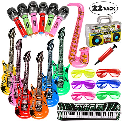 Lewo 22 Pack Opblaasbare Rock Star Toy Set Muziek Opblaasbare Instrumenten Party Props 6 Opblaasbare gitaren, 6 Microfoons, 6 Blinds Verduisterende Glazen, 1 Radio, 1 Keyboard Piano, 1 Saxofoon en 1 Pump