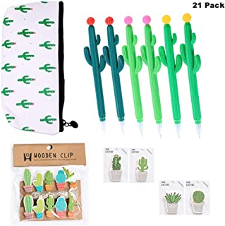 Finduat 21 Pcs Cactus Pencil Bag Cactus Shaped Rollerball Pen Cactus Notes Sticker and Cactus Clip, Cactus Creative Stationery Set for School Office Supplies