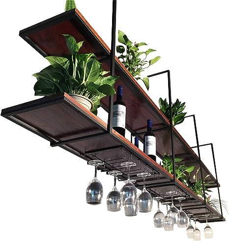wine rack ceiling hanging display shelf