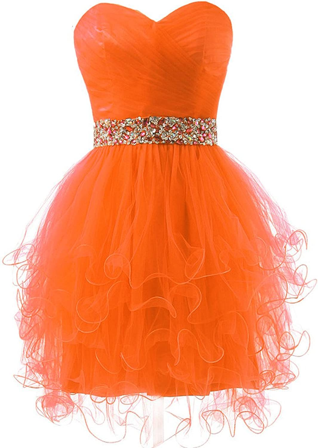 CuteShe Women's Short Strapless Tulle Prom Homecoming Dresses